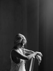 419 (Daniel Hammelstein) Tags: camera portrait blackandwhite bw woman monochrome beautiful beauty lens flickr image availablelight grain portrt sensual explore soul mistery melancholic mft microfourthirds olympus45mm panasonicgh3