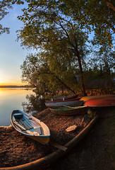 Boats on shore (Antti Tassberg) Tags: sunset sun lake beach espoo landscape prime boat sundown fisheye shore 15mm kes vene ranta jrvi auringonlasku aurinko pitkjrvi laaksolahti kokkoranta