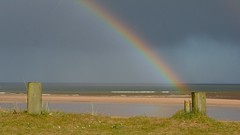 Gold on Alnmouth Beach (J @BRX) Tags: uk blue england sky beach water sunshine rain rainbow sand nikon northumberland alnmouth d5200 april2016