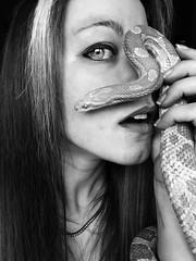 Selfportrait (silvia_mozzon) Tags: portrait selfportrait girl face eyes snake occhi autoritratto ritratto viso elaphe guttata ragazza cornsnake serpente volto vitiligo vitiligine serpentedelgrano