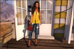 *Stars* Fashion - Suzie & Rezology - Aphrodite (Ag & Q, bloggers!) Tags: fashion female hair bag stars capri outfit shoes mesh top crochet sl jeans secondlife aphrodite hud rezology