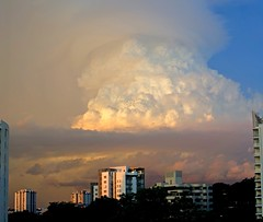 Sundown thunderstorm (jeremyhughes) Tags: singapore sunset thunderstorm cloud thundercloud sundown cumulus dramatic evening city sky nikon d7000 nikkor 35mm 35mmf18g panorama photoshop
