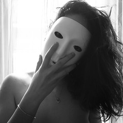 J157 (charlotte.boullier) Tags: portrait blackandwhite white selfportrait fall girl monochrome strange face dark nude photography weird eyes hand mask body fallen brunette nudity challenge 365days 365project 365challenge projet365