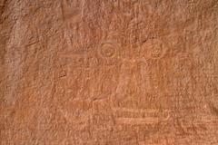 Detail of a Faint Petroglyph (jpmckenna - Denali Bound) Tags: utah petroglyph dinosaurnationalmonument rockart getoutside utahhiking fremontculture vernalclassicstyle