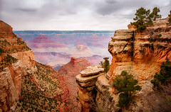 Grand Canyon View - Textured (byron bauer) Tags: trees sky painterly clouds rocks canyon gorge byronbauer