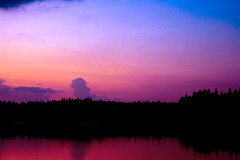 The Perfect Sunset (Blia100) Tags: auto lake film analog 50mm prime fuji grain slide transparency algonquin miranda fujichrome provia e6 reversal sensorex filmphotography poglake analogphotograhy sensorexee