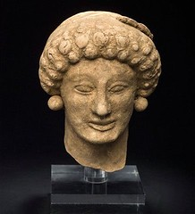 Female Head with curled hair, terracotta, South Italy, 5th Century BC. (mike catalonian) Tags: italy sculpture female head terracotta ancientrome 5thcenturybce