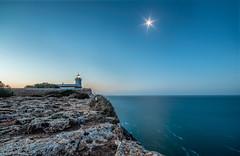 Sunrise at Far des Cap Blanc (m.cjo Fotografie - Martin Rakelmann) Tags: moon lighthouse mallorca sonnenaufgang leuchtturm mcjo