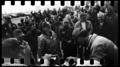 ( Digital Denial ) Tags: people blackandwhite analog rural 35mm diy holga farmers auction toycamera manitoba crowds plasticcamera expiredfilm sprocketholes