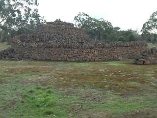 Heywood. Lake Condah. Aboriginal modern stone rock sculpture .