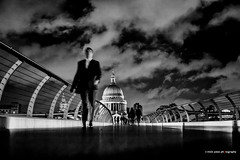 Walk (mickyates) Tags: street leica bridge sky people urban blackandwhite bw london thames night clouds 50mm lights cathedral walk may stpauls dramatic f10 millennium explore nik mp noctilux meet 240 lightscape 2015 thatsclassy silverefexpro