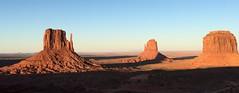 5250e mittens with evening shadows (jjjj56cp) Tags: sunset arizona rock utah pano panoramic highdesert navajo monumentvalley rockformations coloradoplateau navajotribalpark themittens navajotriballand triballand platinumheartaward jennypansing
