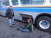 Lawrence working on the battery (DieselDucy) Tags: greyhound 1955 roanoke scenicruiser buseum