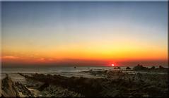 Wecombe Mouth Sunset (pano) (Boba Fett3) Tags: sunset sea sky sun seascape canon outside outdoors seaside rocks panoramic devon coastline photostitch westcountry settingsun northdevon welcombe canon70200mmf28