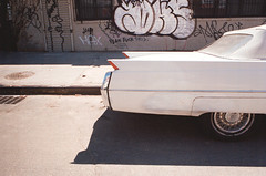 (Chris Giuliano) Tags: city nyc newyorkcity bridge urban film car brooklyn night 35mm vintage graffiti classiccar vintagecar manhattan 35mmfilm canonae1 bushwick tailfin filmphotography kodakportra chrisgiuliano