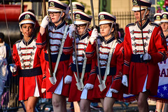 Marching band color guards (sniggie) Tags: kentucky flag band sword louisville marchingband kentuckyderbyfestival colorguards pegasusparade
