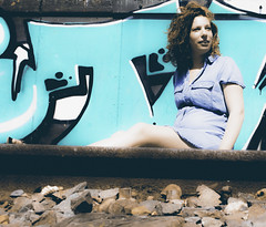 Birke op het spoor (v_rijswijk) Tags: street ladies girls portrait people urban woman colour sexy love nature colors girl beautiful beauty face closeup lady hair photography model eyes women colorful industrial colours faces natural colorfull streetphotography posed posing pregnant human urbano freckles colourful sexual lovely portret tilburg modelling vrouw urbanphotography gezicht gorgious urbanstreets