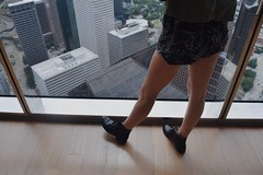 (delaneyspicer) Tags: city blue light sky sun cute tower feet me girl skyline clouds buildings observation happy day texas boots butt perspective houston roadtrip artsy views overlook observationdeck jpmorgan