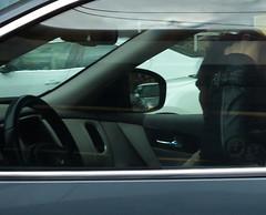 waiting at the light (mcfcrandall) Tags: man car reflections rearviewmirror driver steeringwheel