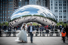 Accidental Wedding Coverage No. 456 (Flipped Out) Tags: chicago weddingparty millenniumpark cloudgate