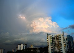Thunderbolts and lightning (jeremyhughes) Tags: cityscape thunderstorm lightning thunderbolts thunderhead anvilhead cumulus cumulonimbus evening afternoon weather storm singapore buildings skyline asia nikon d750 nikkor 35mm 35mmf20 tropical doom