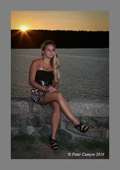 Melissa Grace - Sunset 2 (Peter Camyre) Tags: quabbin reservoir sunset flickr peter camyre photography picture portrait canon 5d mkiii beautiful female model pose posing windsor dam leopard print mini skirt blonde hair eyes fashion vogue wear summer people border ef70200mmf28lisiiusm