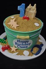 Beach bucket birthday cake (jennywenny) Tags: beach bucket sand crab sandcastle first cake