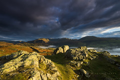 Loughrigg rocks sunrise. (John Finney) Tags: dramatic light landscape ambleside mist sunrise loughrigg fells mountains cumbria