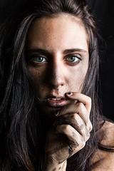 Quicksand (AlbaStark) Tags: quicksand dirty dust drowning riseup shakeoff selfprtrait alba girl blue eyes makeup lips hair