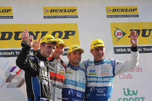 Colin Turkington, Gordon Shedden, Jason Plato and Aiden Moffat on the podium during the BTCC Brands Hatch Finale Weekend October 2016