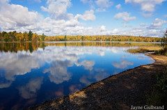 Reflections on the flowage. (nature55) Tags: mercer wisconsin turtleflambeauflowage water lake autumn fall fallcolors reflection colorful