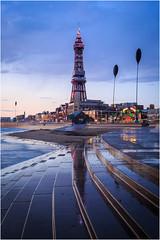 Tower Blue Hour (Chris Beard - Images) Tags: uk sunset sea england beach coast lancashire blackpool centralpier