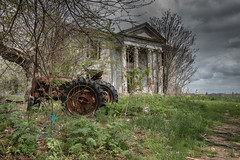Forgotten Elegance (Dr_Fu_Manchu) Tags: house tractor abandoned home farm kentucky columns rusted plantation d750 louisville mansion nikkor derelict dilapidated 24120mm abandonedmansion abandonedplantation johnjmillerphotography