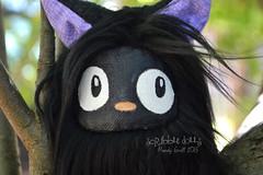 Jiji Fluff (Scribble Dolls) Tags: cute art monster cat miniature stuffed sweet handmade teal ooak critter small mini plush softie tiny stuffedanimal handpainted miyazaki plushie handsewn artdoll cloth creature jiji sewn studioghibli scribbledolls