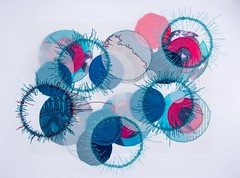 stitched circles (Mnica Leito Mota) Tags: thread paper mixedmedia fabric drawingwiththread