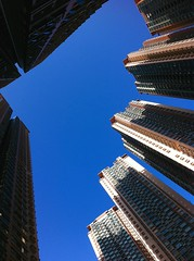 verticality of Park Central, Tseung Kwan O (Winedemonium2) Tags: park urban apple vertical landscape apartments o 4 towers central bluesky verticality kwan iphone tseung iphone4