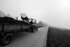 Tractor with Trailer (Borut Slabe) Tags: road bw tractor countryside blackwhite outdoor country vehicle trailer loader rakes loaderrakes