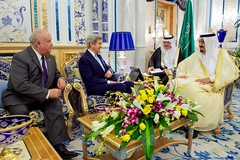 Secretary John Kerry, Joined by U.S. Ambassador Joseph Westphal, Sits With Saudi King Salman at the Royal Court in Jeddah (U.S. Department of State) Tags: jeddah johnkerry saudiarabia josephwestphal kingsalman