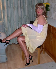 3 knees up (janegeetgirl2) Tags: stockings yellow contrast vintage tv high glamour opera bra crossdressing full tgirl gloves transvestite copper heels slip crossdresser ts nylon petticoat stilettos fully nylons garters fashioned seams
