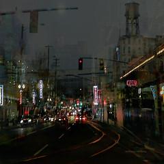 Turning Left (Stacy Ann Young) Tags: portland nightlights digitalart traintracks turnsignal nightcity