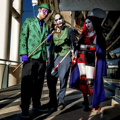 Riddler - Joker - Harley Quinn (R.o.b.e.r.t.o.) Tags: portrait people italy rome roma primavera film boys girl comics movie spring italia cosplay joker fumetti cosplayer groupshot ritratto cartoons riddler harleyquinn costumi ragazzi 2016 romics lenigmista