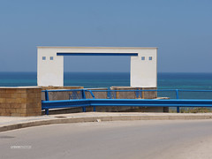 Blue (LYSVIK PHOTOS) Tags: road blue sea horizontal landscape outdoors photography outdoor horizon nopeople sicily guardrail skyblue guiderail manmadelandscape colorimage manaltered