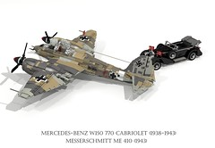 Mercedes-Benz W150 770 Grosser Cabriolet (1938 - 1943) & Messerschmitt Me 410 Heavy Fighter (1943) (lego911) Tags: mercedesbenz mercedes benz w150 770 grosser cabriolet 1938 1943 1930s 1940s luxury hitler third reich nazi germany german auto car moc model miniland lego lego911 ldd render cad povray supercharger supercharged lugnuts challenge 103 thefabulousforties fabulous forties messerschmidtt me 410 fighter bomber aero airplane aeroplane aircraft luftwaffe ww2 wwii world war 2 ii air plane db603 db 603 v12