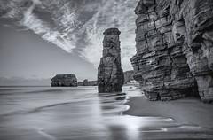Erosion (Glenn D Reay) Tags: longexposure sea blackandwhite mono seaside pentax tide cliffs coastal tidal seastack marsden k30 sigma1770hsm pentaxart glennreay