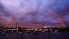 Sunset Rainbow (dgbrown) Tags: sunset clouds washington rainbow parkinglot colorful cloudy sony tamron sammamish a7rii a7r2