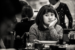 young.woman.daydreaming.over.lunch (grizzleur) Tags: portrait bw woman eye girl lady mono eyes eyecontact humanity candid dream young streetphotography streetportrait dreaming moment daydream touching daydreaming candidportrait candidphotography olympusomdem5 olympusm75mmf18