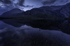 Blue Moon (MarkWaidson) Tags: blue moon mountains reflection hour cwm llyn idwal