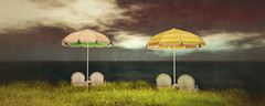 Waiting for the storm (Lalie Sorbet SL) Tags: sea sky mer nature colors grass umbrella scenery couleurs scene sl ciel secondlife virtual parasol paysage impression herbe virtualit virtuality beachumbrella lalie virtuallife metaverse virtualworld scne virtuel so laliesorbet