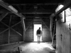 Mom in the mill (Jaedde & Sis) Tags: mor behind bw mill friendlychallenges wood hatch storybookwinner beginnerdigitalphotographychallengewinner bdpc