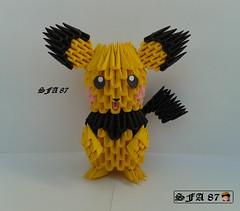 Pichu Origami 3d (Samuel Sfa87) Tags: anime 3d origami arte crafts craft pichu sfa pikachu pokemon ash block gameboy pokmon artisan papercraft arteempapel blockfolding origami3d sfaorigami sfa87 arteconlacarta